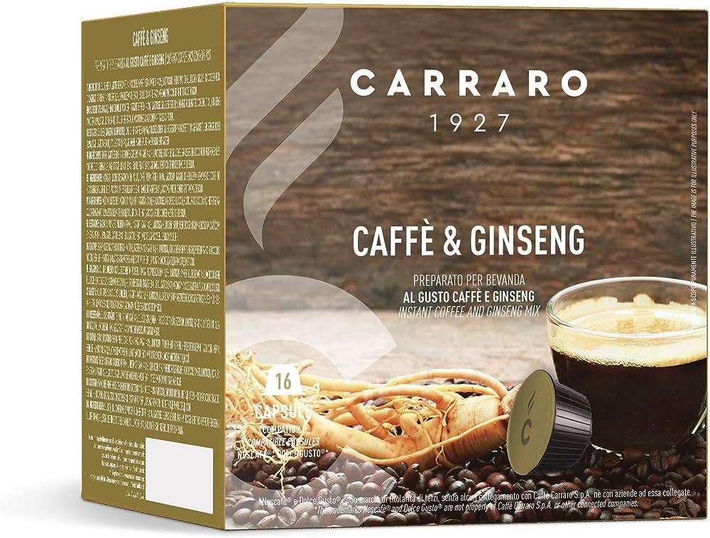 Caffè carraro, selezione ginseng carraro, compatibili dolce gusto, 6 astucci da 16 capsule, 96 capsule