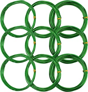 YOURSEE 9 Rolls Bonsai Wires, Anodized Aluminum Bonsai Training Wire and 3 Sizes (1.0 mm, 1.5 mm, 2.0 mm), Total 147 Feet (Green)