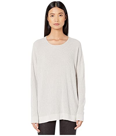 Eileen Fisher Fine Organic Cotton Silk Round Neck Top (Pearl) Women