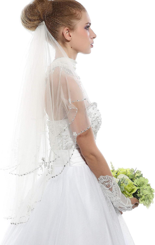 Passat 1T sparkle wedding veil Bling bridal veils with crystal edging 246