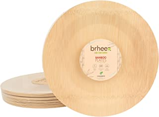 """Brheez 11"""" Bamboo Veneer Disposable Eco-Friendly Plates - Elegant, Compostable and Biodegradable - Made from 100% Natural Bamboo - (Pack of 10)"""