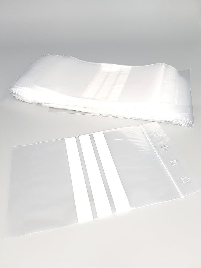 222 opinioni per Bustina chiusura zip – 3 strisce bianche – 80mm x 180mm- Set di 1000 (10 x 100)