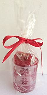 Yankee Candle Red Star Snowflake Tea Light or Votive Holder Gift Set with 2 PEPPERMINT COOKIES Votives