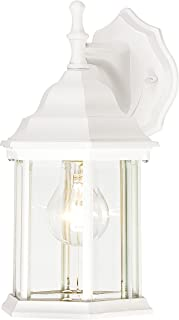 Westinghouse Lighting 6783400 One-Light Exterior Wall Lantern, Textured White Finish on Cast Aluminum with Clear Beveled Glass Panels