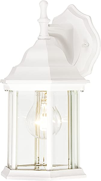 Westinghouse Lighting 6783400 One Light Exterior Wall Lantern Textured White Finish On Cast Aluminum With Clear Beveled Glass Panels
