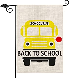 AVOIN School Bus Garden Flag Double Sided, Back to School First Day of School Burlap Yard Outdoor Decoration 12.5 x 18 Inch