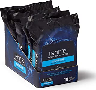 Ignite Mens Body Wipes, Shower Wipes with Bold Energizing Scent, 5 Packs of 10 Wipes, Great for After Gym Wipes, Camping Wipes, Travel Wipes, Extra Thick 8 x 8 inch Wipes