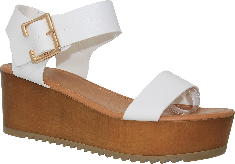 MVE shoes Women's Open Toe Ankle Strap Flatform Sandal Wedge