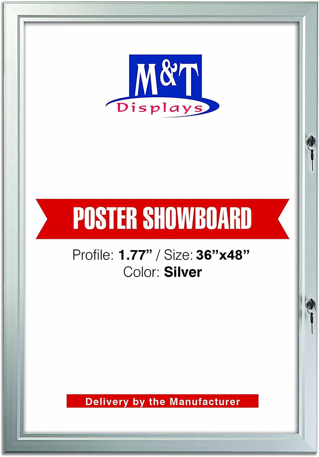 Enclosed 新着セール Bulletin Board for Outdoor Use バースデー 記念日 ギフト 贈物 お勧め 通販 Locking Silve Door- with