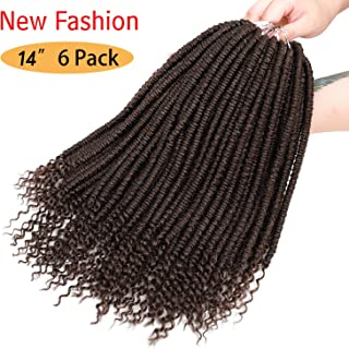 14 Inch 6 Packs Spring Twist Hair with Curly Ends Bomb Twist Hair Senegalese Twist Crochet Braids Hair Kinky Twists Bomb Twist Braiding hair Pre-looped Fluffy Twist Hair (14 Inch-6 Pac, 4#)