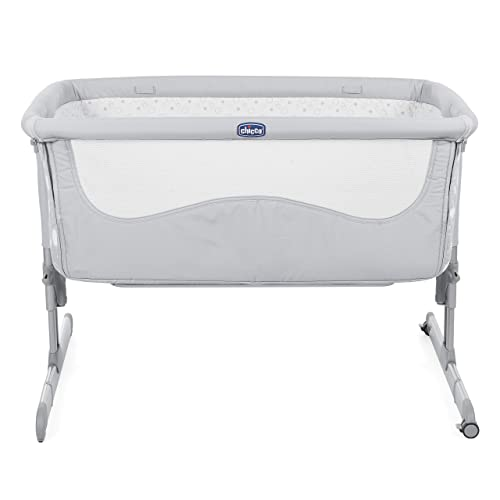 16 Models Available,Textile Colour White//Stars Grey WALDIN Baby Bedside Cot Co-Sleeping Height Adjustable,White Painted
