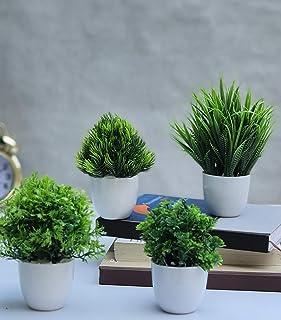 Litleo Bonsai Wild Artificial Plant with Pot (Green, 4 Piece)