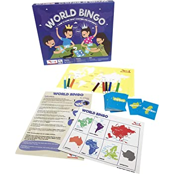World Bingo Geography Game to Learn Countries and Continents. STEM Toy Learning and Educational Birthday Party Favor for Kids 5-7 Years, 8-10 Years, 11-12 Years Boys and Girls