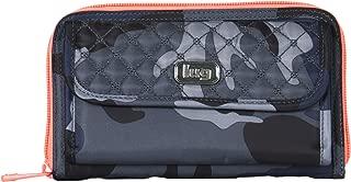 Women's Kickflip Convertible Wallet, Camo Navy/Coral