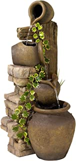 John Timberland Rustic Floor Water Fountain Three Jugs Cascading 33