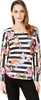 Womens Stripe Floral Print Top
