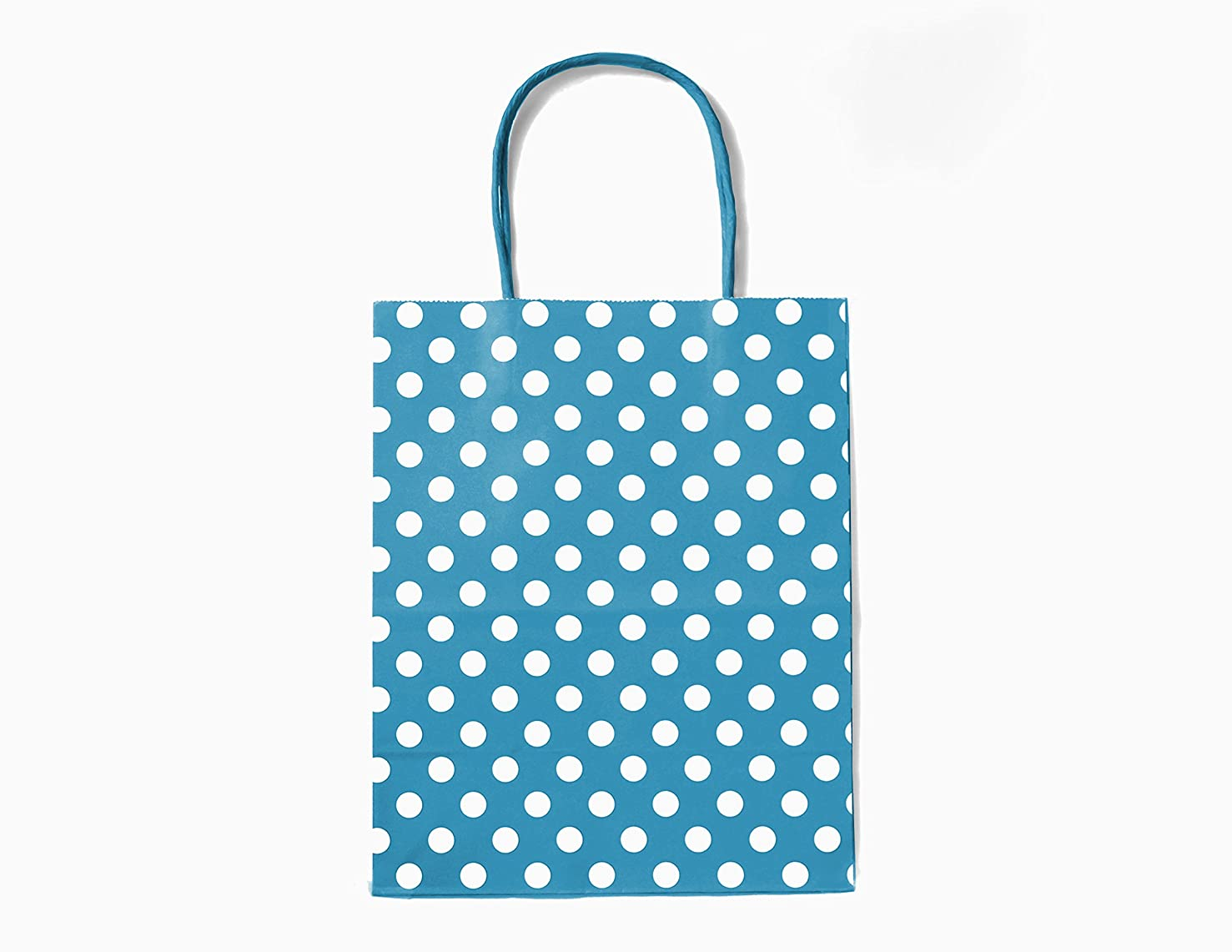 12CT MEDIUM TURQUOISE POLKA DOT BIODEGRADABLE, FOOD SAFE INK & PAPER, PREMIUM QUALITY PAPER (STURDY & THICKER), KRAFT BAG WITH COLORED STURDY HANDLE (Medium, P.Turquoise)