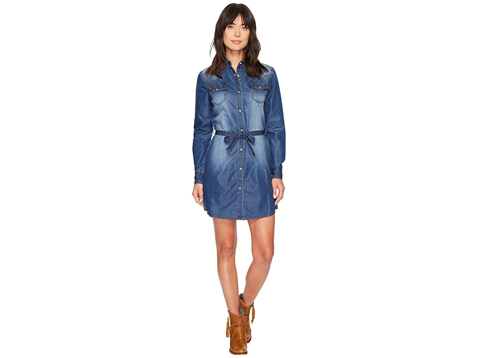 Wrangler Western Denim Shirt Dress (Dark Denim) Women's Dress
