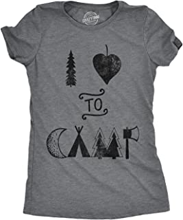 Crazy Dog T-Shirts Womens I Heart to Camp Tshirt Funny Cute Outdoor Adventure Tee for Ladies