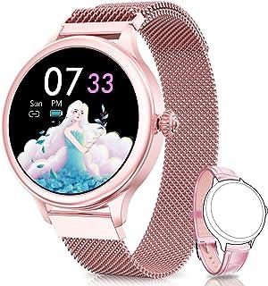 NAIXUES Smartwatch, Reloj Inteligente para Mujer, Reloj Deportivo Impermeable IP67 con Monitor de Sueño Pulsómetro Podómet...