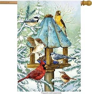 "Briarwood Lane Cold Feet, Warm Hearts Winter House Flag Birds Chickadee 28"" x 40"""