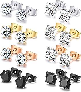Vegolita 8Pairs Stainless Steel CZ Stud Earrings for Men Women Ear Piercing Earrings Round Square Earrings Set 3-6MM