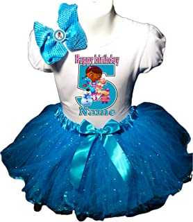 Doc McStuffins Birthday Party Dress 5th Birthday Turquoise Tutu Outfit Shirt