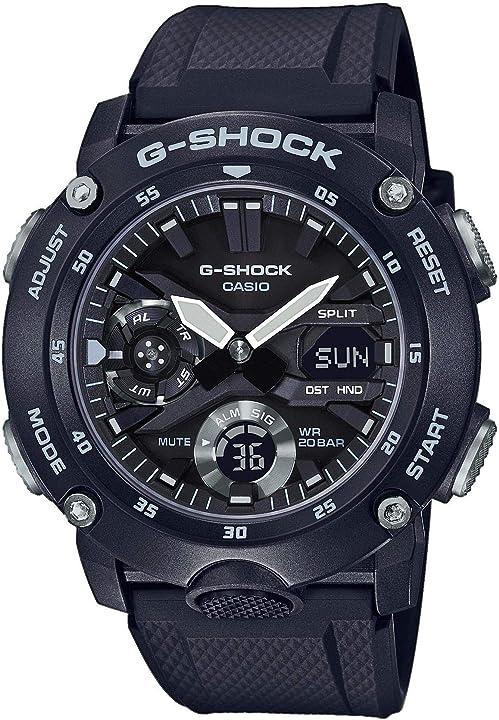 Orologio g-shock casio 20 bar analogico - digitale uomo con cinturino in carbonio GA-2000S-1AER