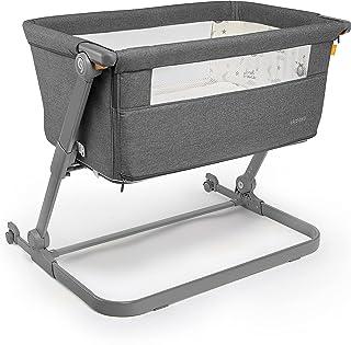 skiddou Babybett Natt 3in1 Beistellbett Reisebett Zustellbett, freistehendes Babybett für Kleinkinder, höhenverstellbar, zusammenklappbare leichte Aluminium Konstruktion, dunkelgrau