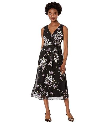 LAUREN Ralph Lauren Petite Olena Dress (Black/Purple/Multi) Women