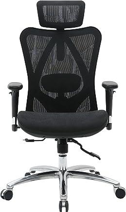 Sihoo 符合人体工程学办公室椅,电脑椅,桌椅,高背椅,透气,亲肤网椅,可调节 3D 扶手和腰部支撑(黑色)