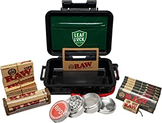 RAW Black Rolling Papers 1 1/4 (6 Packs), Pre Rolled Tips (3 Packs), Roller, Hemp Wick, Magnifier Card with RPD Grinder, Leaf Lock Gear Airtight Carrying Case and Smell Proof Pouch - Bundle - 15 Items