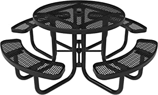 Coated Outdoor Furniture TRD-BLK Top Round Portable Picnic Table, 46-inch, Black