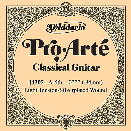 D'Addario J4305 Pro-Arte, cuerda individual de nailon para guitarra clásica, tensión blanda, quinta cuerda