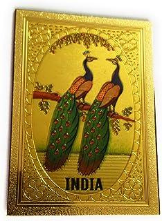 Aayam Design and Solutions Peacocks Golden foil Sticker Magnet for Fridge/Magnetic memo Boards Rectangular (6.5 cm x 4.5 c...