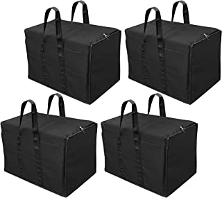 Storite 4 Pack Multi-Purpose Storage Bag/Clothing Storage Organiser/Toy Storage Bag/Stationery Paper Storage Bag with Zipper Closure and Strong Handle-(Black, 57x 36.8X 40.5 cm)