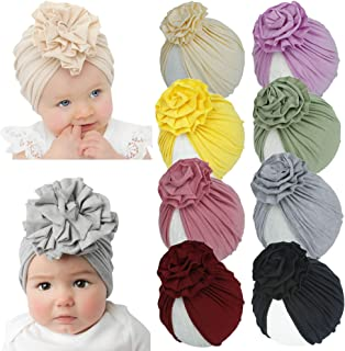 inSowni 8 Pack Solid Nursery Hospital Turban Hat Cap Beanie Bonnet with Big Flower for Baby Girls Toddlers Newborns Infants