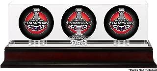 Washington Capitals 2018 Stanley Cup Champions Mahogany Three Hockey Puck Logo Display Case - Hockey Puck Free Standing Display Cases