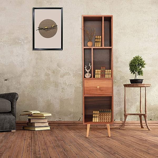 JAXPETY Modern Standing Storage 4 Shelf Bookcase Floor Cabinet For Books Media Display Side Corner Storage Bookshelf Walnut