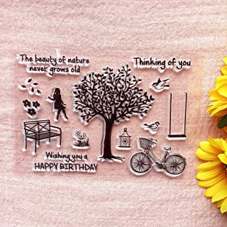 GAWEI Happy Birthday Think of You Tree Life Girl Clear Stamps Sentiments for Card Making and DIY Scrapbooking Transparent ...