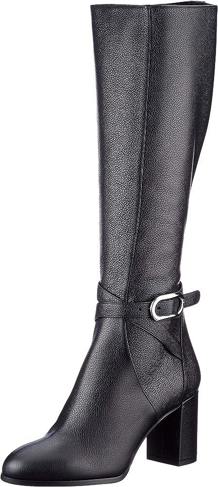 Hugo boss,stivali al ginocchio per donna, in pelle martellata italiana con esclusivo dettaglio in metallo 50441699