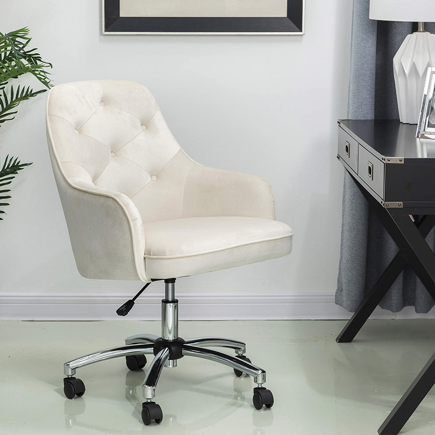 Glitzhome Home Office Chair Adjustable Mid-Back Velvet Ergonomic Desk Chair Comfortable Computer Chair with Lumbar Support Modern Rolling Swivel Chair with Armrest, Cream White