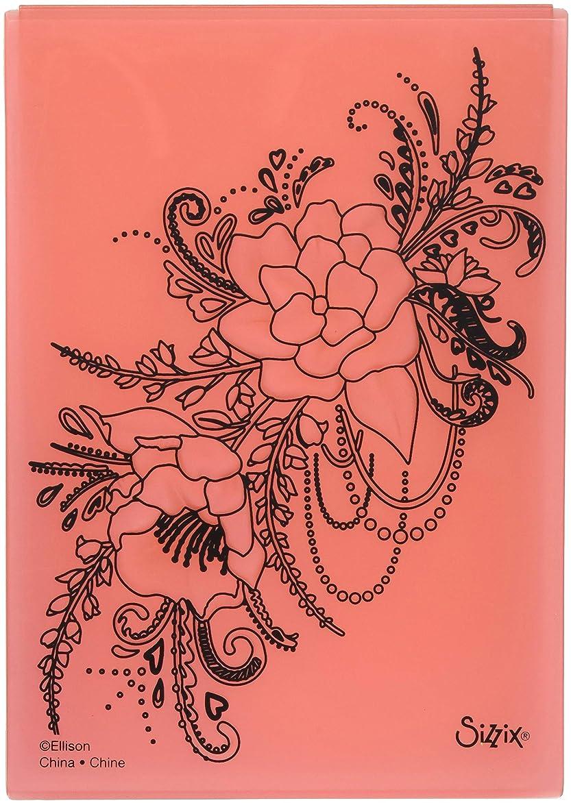 復活する有害罹患率Sizzix Flower Heart Doodle by Courtney Chilson 3?- D Textured Impressionsエンボスフォルダ、マルチカラー