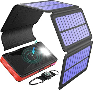 BLAVOR Solar Charger Five Panels Detachable, Qi Wireless Charger 20000mAh Portable Power Bank with Dual Output Type C Inpu...