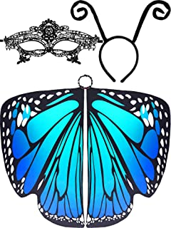 3 Pieces Butterfly Wings Shape Shawl Cloak Ant Antenna Headband Lace Mask for Costume Accessory