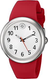 Philip Stein ' Japanese Quartz Stainless Steel and Silicone Watch, Color:Red (Model: F36S-SW-R)