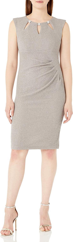 R&M Richards Women's Glitter Knit Short Key Hole Front Dress