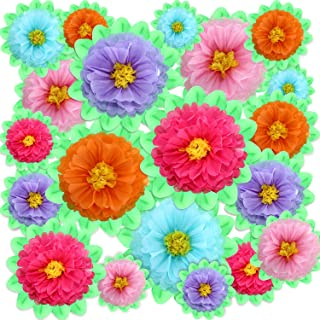 Gejoy 20 Pieces Paper Flower Tissue Paper Chrysanth Flowers DIY Crafting for Wedding Backdrop Nursery Wall Decoration (Color Set 3)