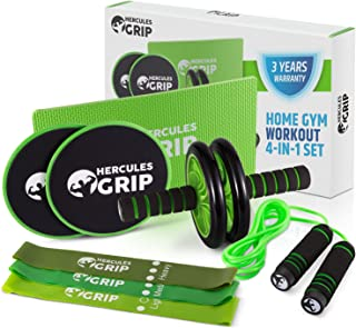 HerculesGrip Ab Wheel Roller, Adjustable Jump Rope, 2x Dual Sided Gliding Discs & 3x Loop Resistance Bands 4-In-1 Home Gym Total Body Workout Equipment Set -For Core, Cardio, Abs, Legs & Arms Training