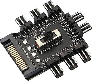 Honglei Hub RGB pour Ordinateur à 8 canaux,SATA 1 à 8 ports Fan Hub PWM,3 broches 12 V contrôleur de ventilateur
